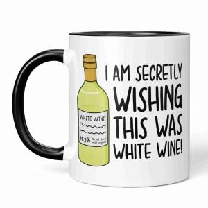 Funny Pun Mug TeePee Creations White Wine Lover Mothers Day Gift Step Mum Present Wishing Birthday Present Secretly Wish Alcohol Joke Zoom Call Present Working From Home New Job Video Meeting