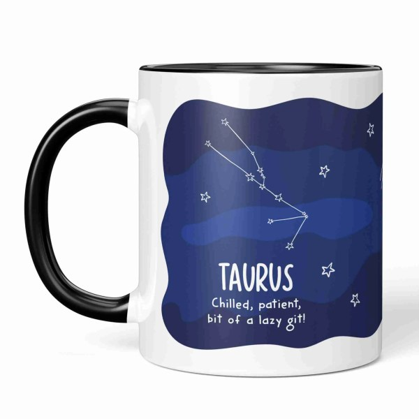 """Blue and white mug with star pattern and taurus constellation with the phrase """"Chilled, patient, bit of lazy git!"""""""