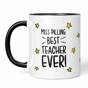"""Black and white mug with star pattern illustration and the phrase """"{Name} Best Teacher Ever!"""""""