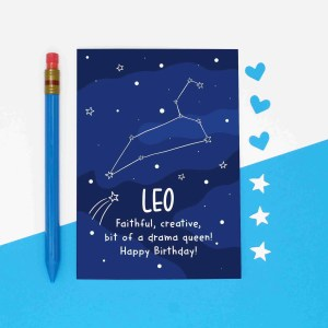 """Greetings card with Leo constellation illustration and the phrase """"Faithful, creative, bit of a drama queen!"""" on the front"""