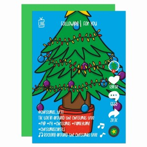 """Greetings card with Christmas tree illustration and the phrase """"Tik tok'in around the Christmas tree"""" on the front."""