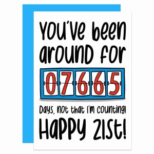 """Greetings card with counter illustration and the phrase """"You've been around for 7765 days, not that I'm counting! Happy 21st!"""" on the front."""