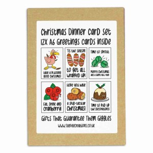Christmas 12x greetings card pack with 6 different dinner puns.