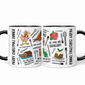 Mug with Christmas dinner illustrations and puns wrapped all the way around.