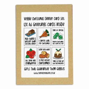 Christmas 12x greetings card pack with 6 different vegetarian dinner puns.