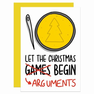"""Greetings card with squid game honeycomb illustration and the phrase """"Let the Christmas games arguments begin"""""""
