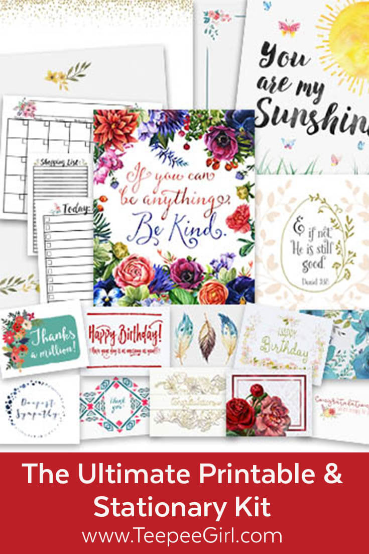 Get this FREE printable & stationary kit at www.TeepeeGirl.com. It's a massive kit filled with greeting cards, quote printables, stationary pages, to-do list, shopping list, and blank calendar page. www.TeepeeGirl.com