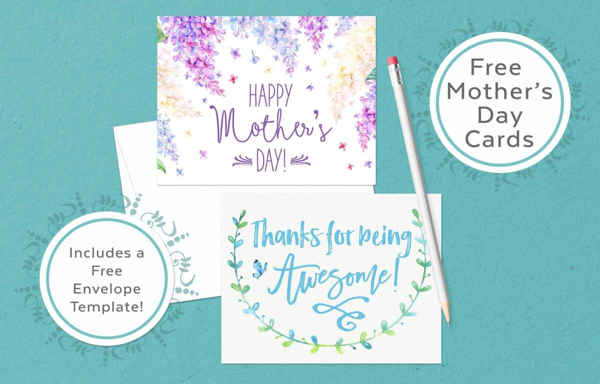 Free Mother's Day Cards plus envelope template! www.TeepeeGirl.com