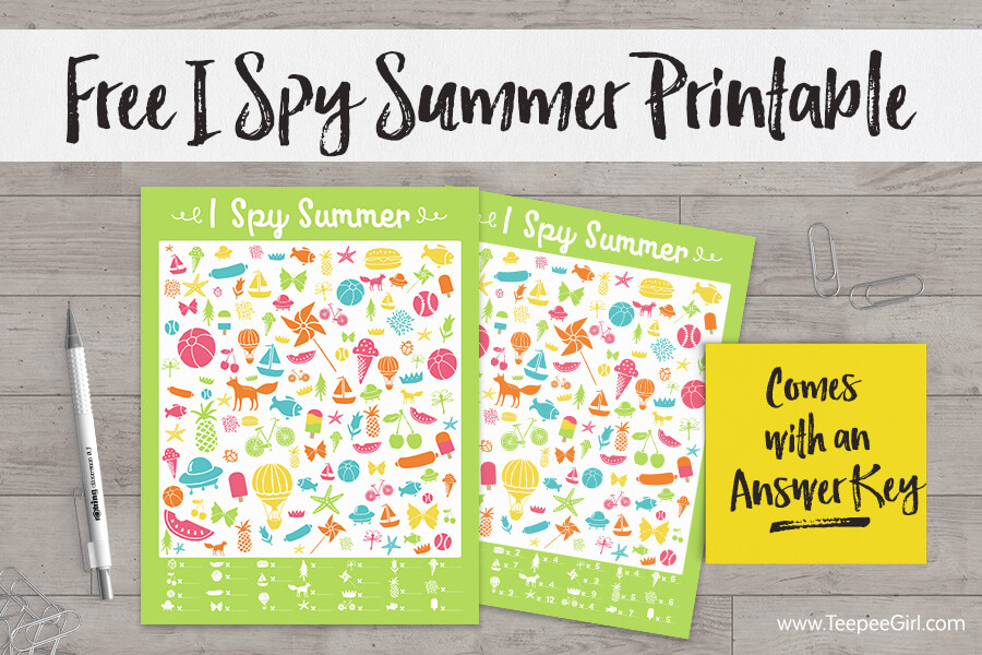 Free I Spy Summer Printable from www.TeepeeGirl.com