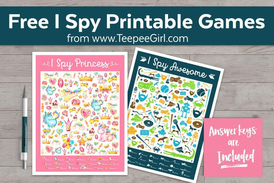 This free I Spy Princess & I Spy Awesome are perfect for birthday parties, easy & inexpensive gifts, waiting at the doctor's office, or a quiet afternoon at home! They are colorful, fun, & engaging. www.TeepeeGirl.com