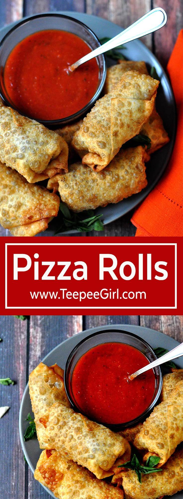These pizza rolls have been a family favorite for decades! Imagine a supreme pizza rolled up in an egg roll wrapper and fried to perfection. Add some marinara sauce for dipping, and you have a crowd pleaser! www.TeepeeGirl.com