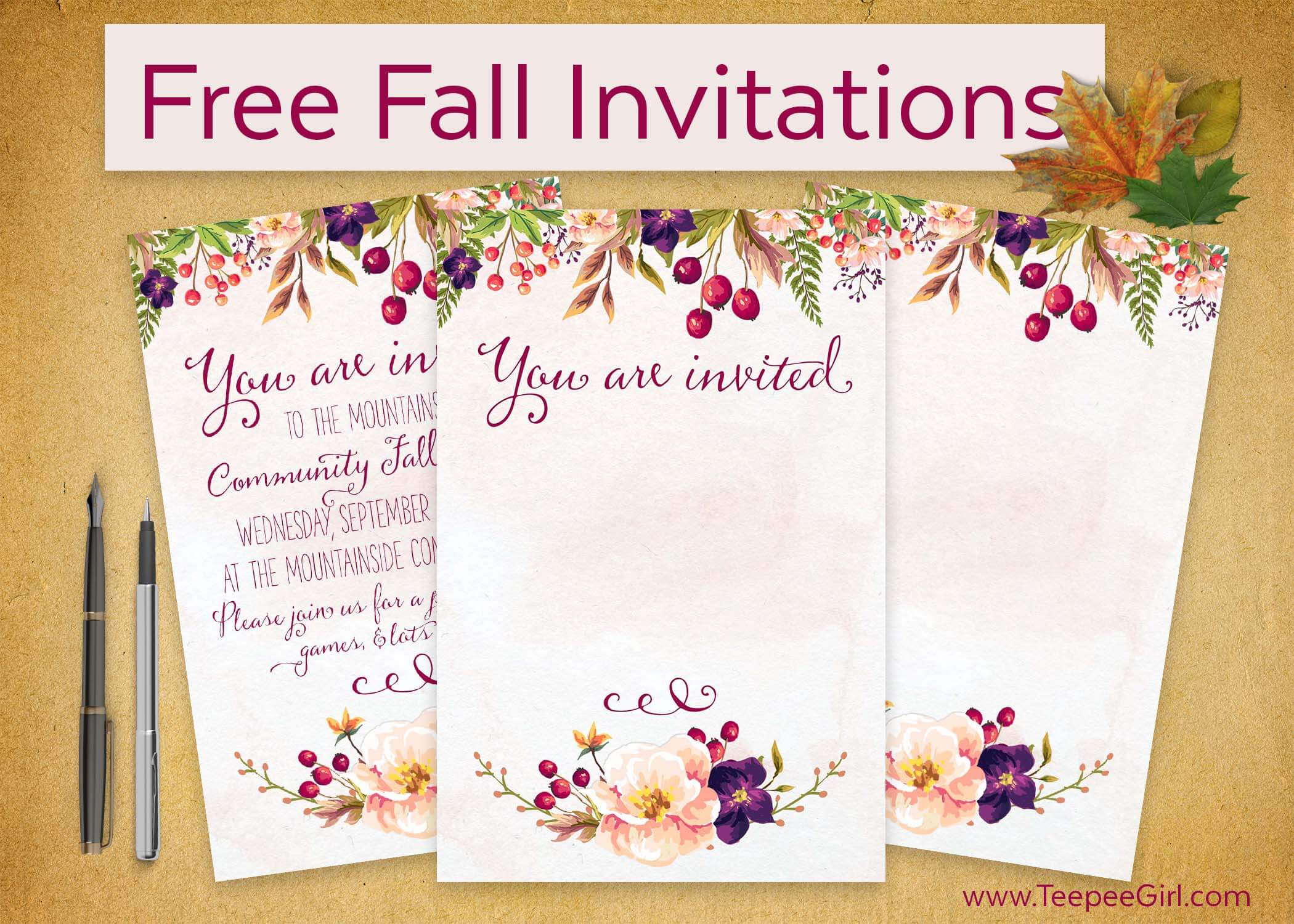 Free Fall Invitations