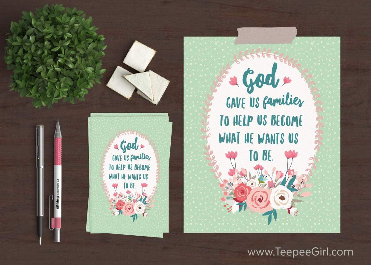 October 2016 Visiting Teaching Printable- This free printable comes in two sizes (8x10 & 4x6) and reminds us how important the family is. Get your free printable at www.TeepeeGirl.com