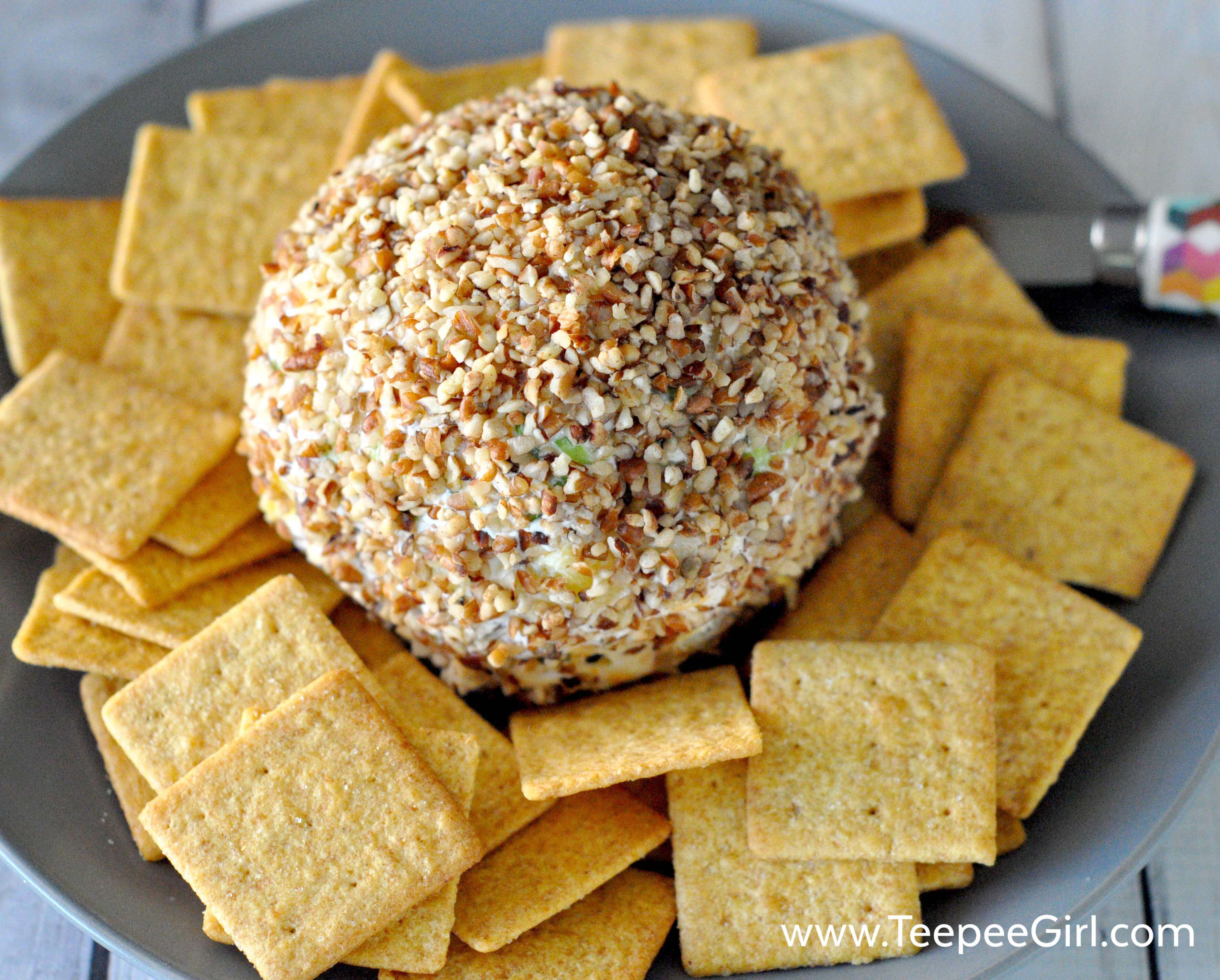 This easy and delicious cheese ball is perfect for all your family and holiday parties! It's easy, fun, and totally delicious!! Click here to get the recipe or go to www.TeepeeGirl.com.