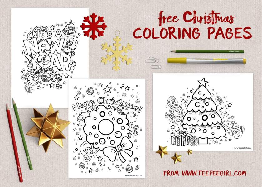 These free Christmas coloring pages are the perfect way to keep kids happy and busy during this holiday season! There are three versions, and you can get them all at www.TeepeeGirl.com!