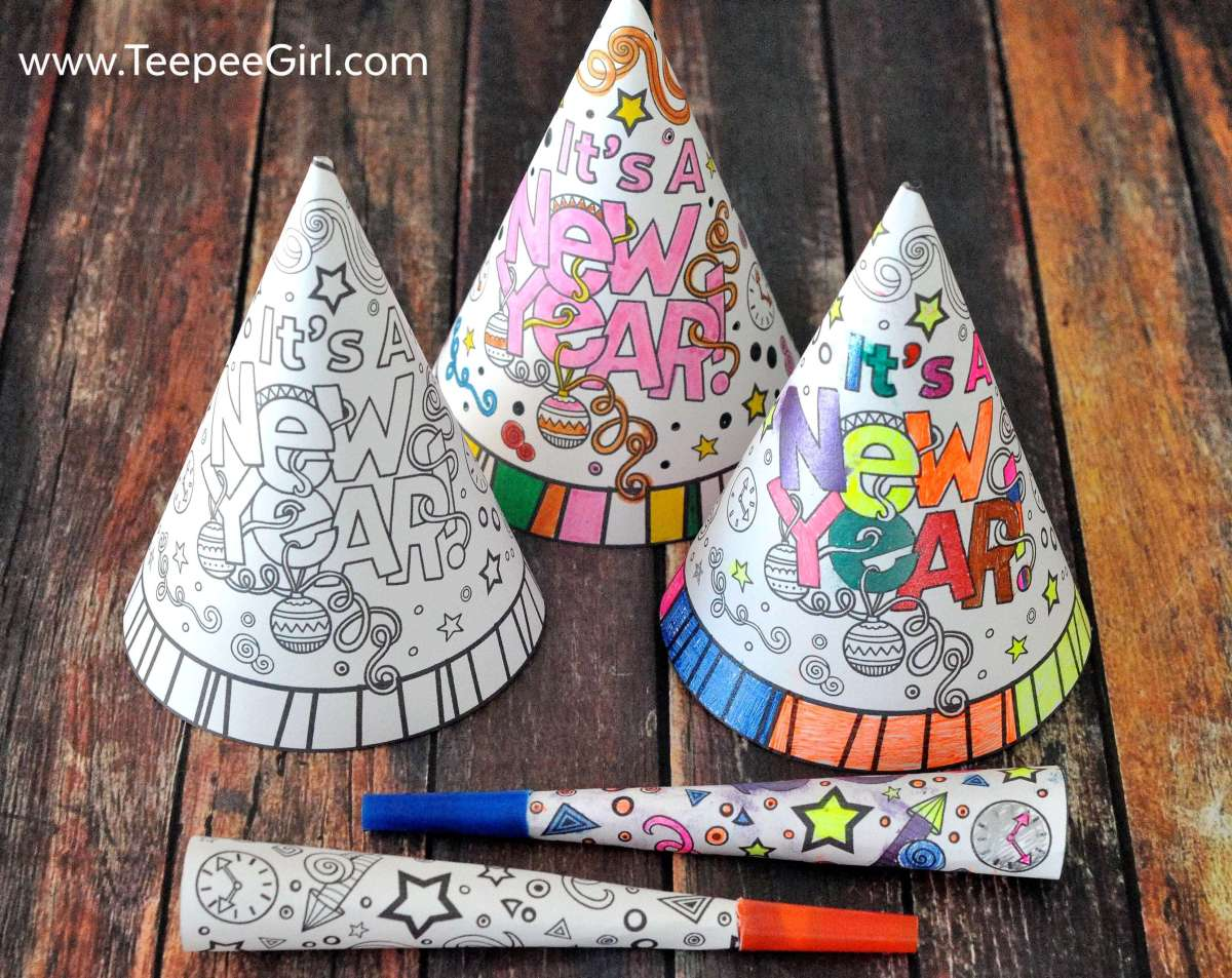 These DIY New Year's hats and horns are great for keeping your kids busy while they wait to ring in the new year! They can color their own hats and horns, making it totally personal and fun! Start this new tradition and click here to download or go to www.TeepeeGirl.com!
