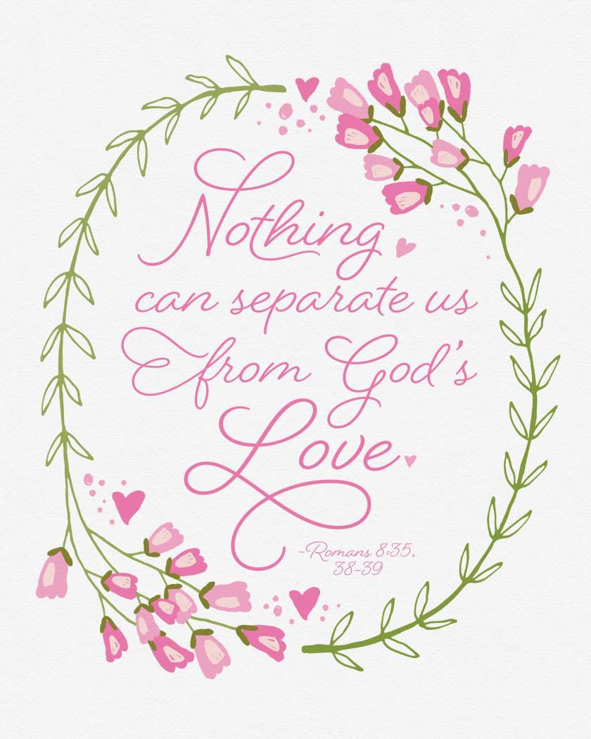 This free inspirational printable featuring Romans 8 & God's love is available in two sizes and is perfect for visiting teaching, gifts, and home decor! Click here or go to www.TeepeeGirl.com!