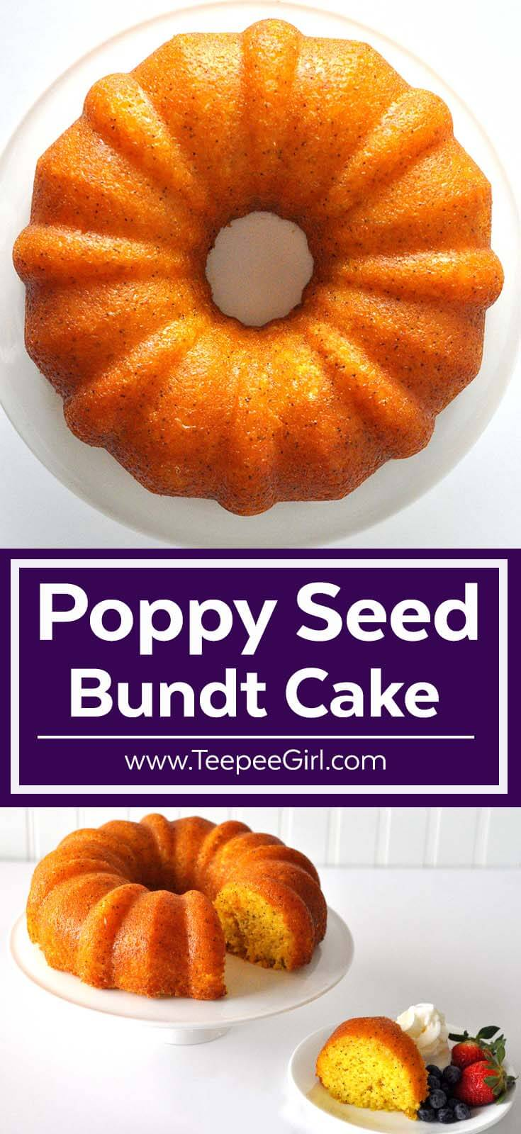 This easy and delicious Poppy Seed Bundt cake will make you a kitchen rock star! It's so quick to make and completely irresistible! Get the recipe today at www.TeepeeGirl.com.