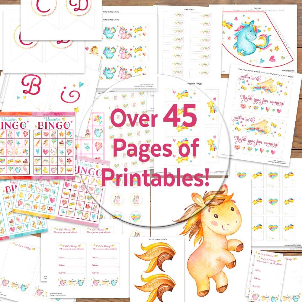 It is a photo of Declarative Free Unicorn Party Printables