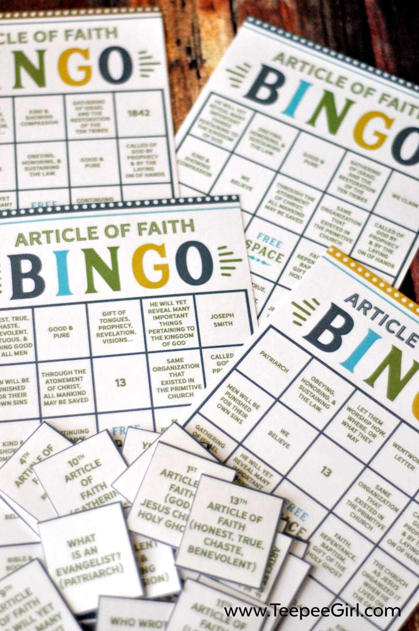 Get this free Article of Faith Bingo game to help Acitvity Days boys and girls learn and remember their Articles of Faith. www.TeepeeGirl.com