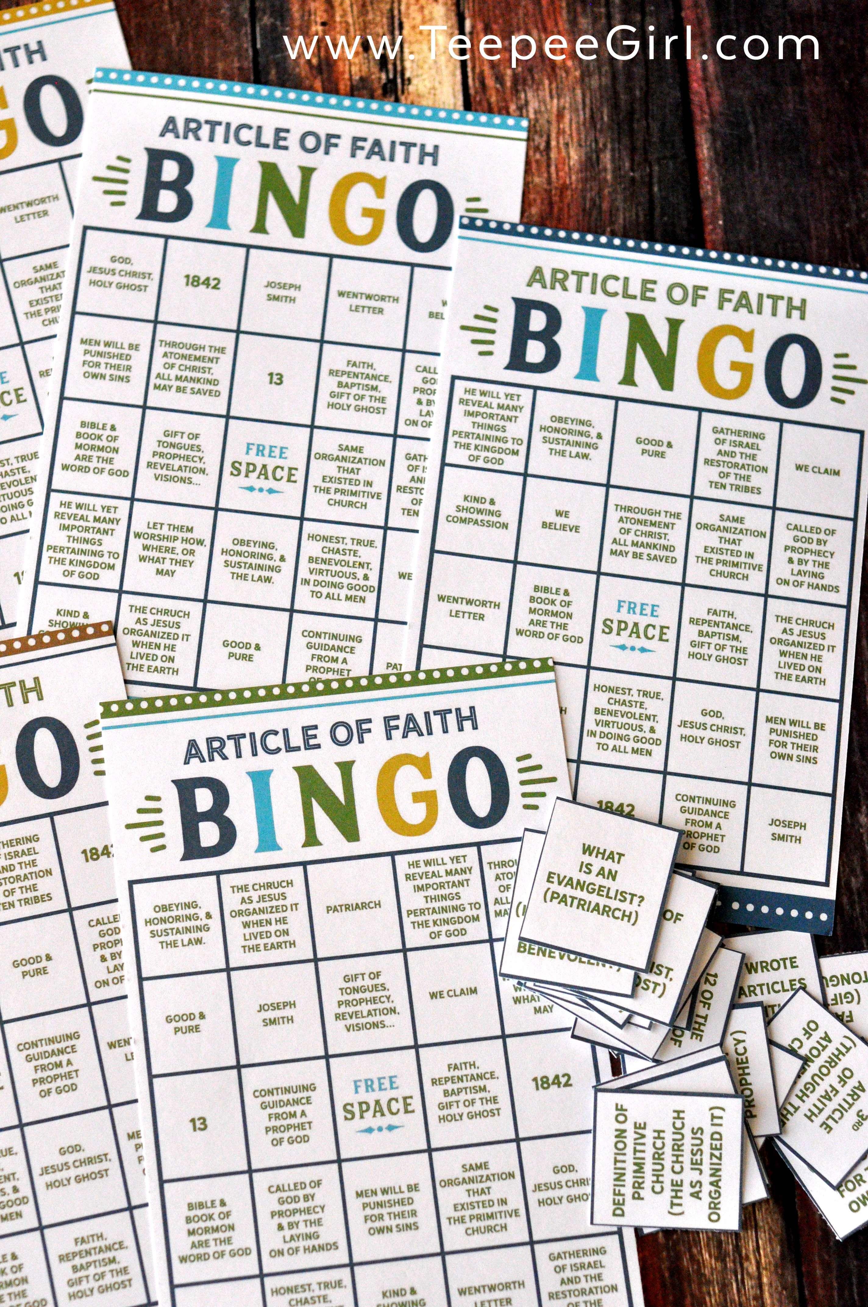 Articles Of Faith Bingo Game