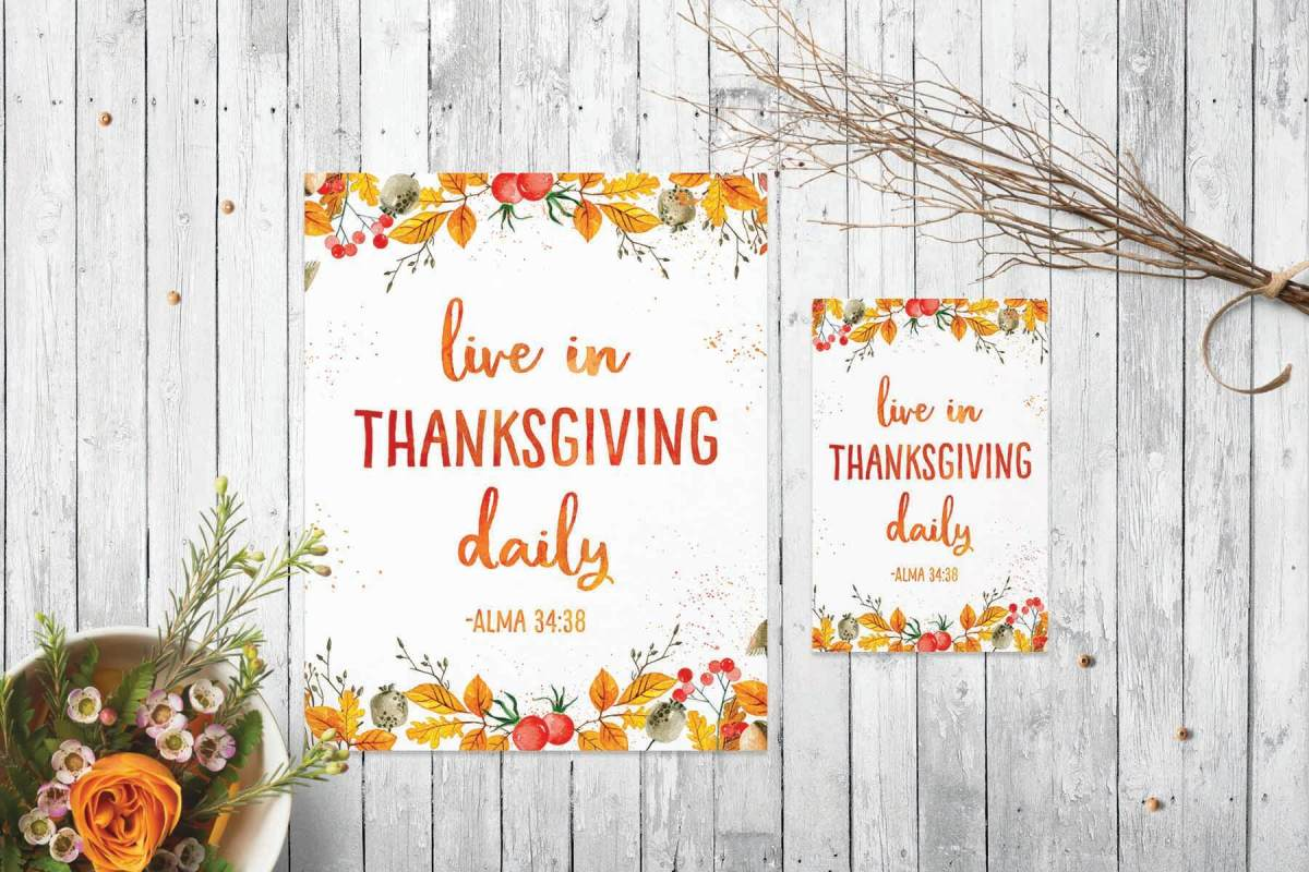 Free Thanksgiving Gratitude Printable Poster | Perfect for Thanksgiving table decor, home decor, gifts, lesson handouts, & more! www.LittleLDSIdeas.net