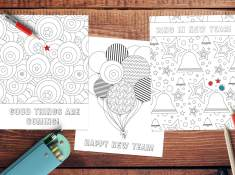 Free New Year Coloring Pages! Kids and adults love these free coloring pages. Use them at play dates, New Year's party, church, or anytime! www.TeepeeGirl.com