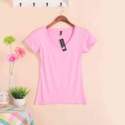 2018-Hot-Sale-Stretch-Summer-New-Women-T-Shirts-Ms-Solid-Color-Short-Sleeve-tshirt-Women_W00622 pink