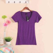 2018-Hot-Sale-Stretch-Summer-New-Women-T-Shirts-Ms-Solid-Color-Short-Sleeve-tshirt-Women_W00622 purple