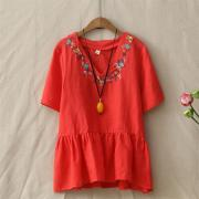 Summer-Retro-Loose-Embroidery-Flowers-V-Neck-Cotton-Linen-T-Shirt-Womens-Short-Sleeve-Casual-Peplum_Red
