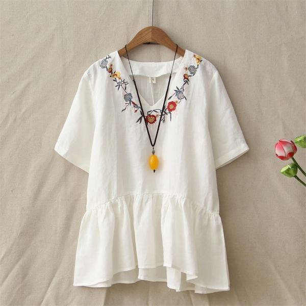 Summer-Retro-Loose-Embroidery-Flowers-V-Neck-Cotton-Linen-T-Shirt-Womens-Short-Sleeve-Casual-Peplum_White