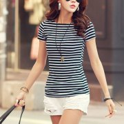 Volocean-2018-Cotton-T-shirt-Striped-Classic-Bottom-T-shirts-For-Women-Colorful-T-Shirt-Woman_22