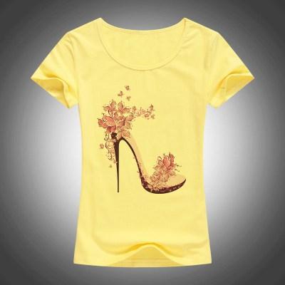 new-beautiful-High-heels-printed-summer-cotton-t-shirt-women-tops-tees-short-sleeve-fashion-Casual_4