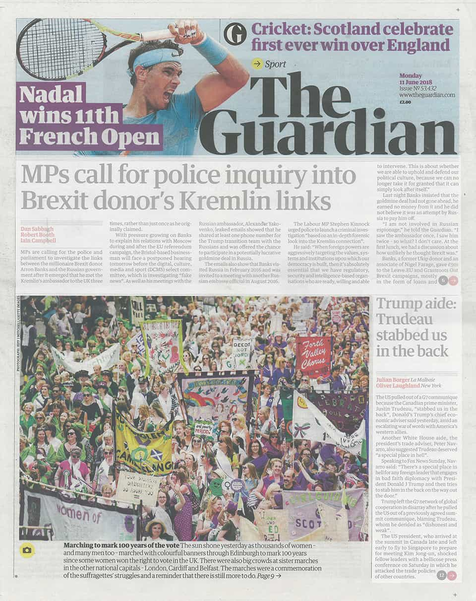 Thorntree Women at Edinburgh Processions March on Guardian Front Page