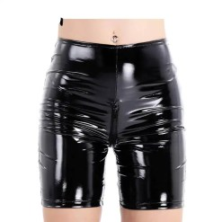 Patent Leather Slim Fit Wetlook Open Zippered Crotch Tight Pants