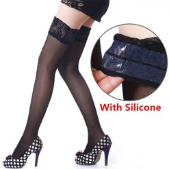 Lace Stay Up Thigh High Silicone Nylon Stockings