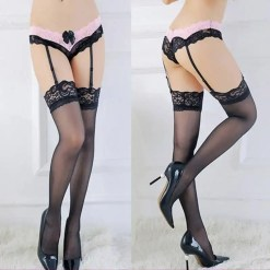 Ladies Lace Intimate Stockings Set with Garter