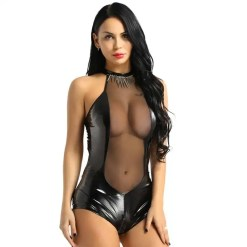 Leather Mesh Latex Catsuit
