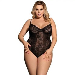 Plus Size Lace See Though White Black Floral Sheer Romper