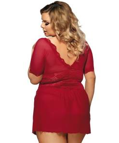 Plus Size Red Babydoll Dress