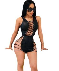 Sexy Club Bandage Bodysuits Women V-Neck Lace Up Hollow Out Clubwear Skinny Black Leather Jumpsuit Shorts Playsuits Combinaison