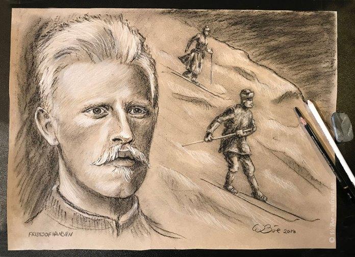Fridtjof Nansen på ski over Norefjell