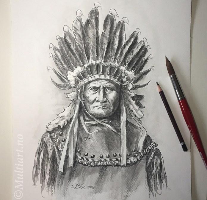 Tegning av Apachehøvdingen Geronimo