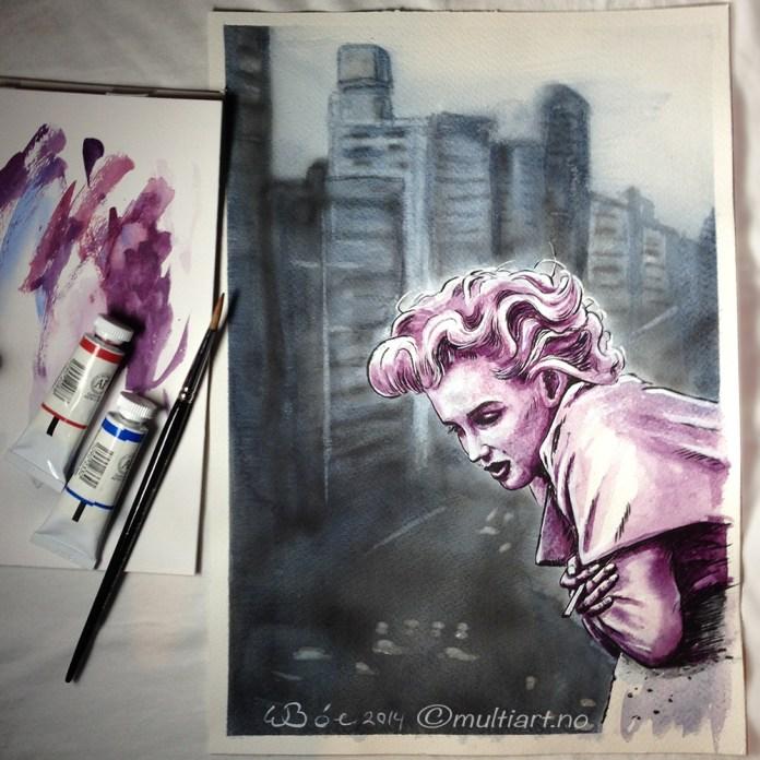 Aquarelle of Marilyn Monroe