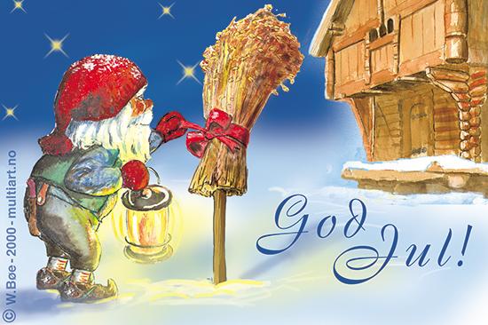 Julekort, laget av W. Bøe - www.multiart.no