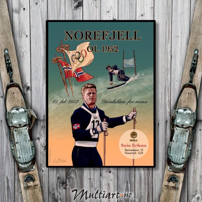 Plakat fra Norefjell OL 1952, med Stein Eriksen