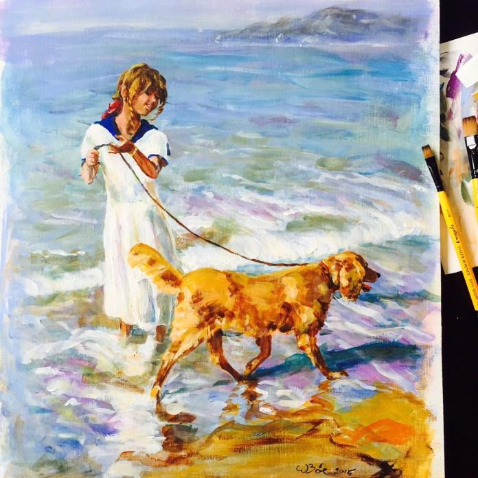 Jenta og hunden, akryl maleri
