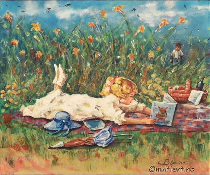 Jente i blomstereng