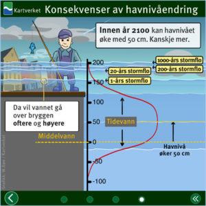 Skjermdump av stormflo-animasjonen som vises på Kartverket.no