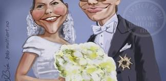 Victoria og Daniel karikatur